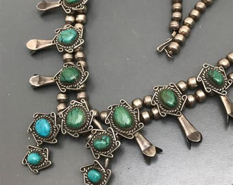 Vintage Navajo Squash Blossom Necklace . Sterling Silver . Blue Green turquoise .  Native American  Jewelry