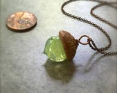 Glass Acorn Necklace - Celery Swirl - by Bullseyebeads - Ready To Ship