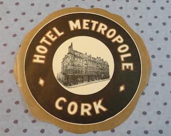 Irish Travelers Will Love This One Hotel Mertopole Cork Vintage Hotel Label or Sticker