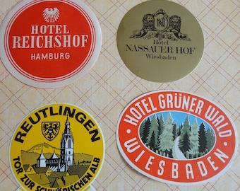 Germany Featured in Vintage Stickers Labels Hotel Gruner Wald and Hotel Nassauer Hof in Weisbaden Hotel Reichshof in Hamburg Plus Reutlingen