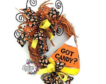 ON SALE Halloween Got Candy Wreath, Candy Corn Wreath, Halloween Wreathes, Candy Corn Decor, Halloween Wreath for Front Door