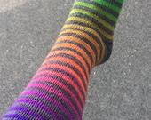 Hand painted Rainbow Voodoo Gradient Stripe Sock Yarn - self striping - 80/20 merino - dyed to order