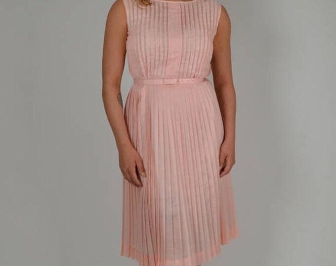 sale Vintage Pink Dress, 50s Dress, Womens Pink Dress,  Swing Dress, Pleated Skirt, Cotton Dress, Sleeveless Dress, Retro Dress, Preppy Dres