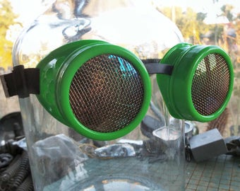Steampunk Goggles, light green frame, brass screen lens covers, welding, eye protection glasses, lightning pirate, cosplay, mad science