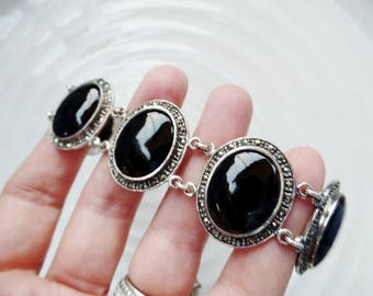 Vintage Sterling Silver Onyx Marcasite Bracelet 7 Inches Art Deco Style 925