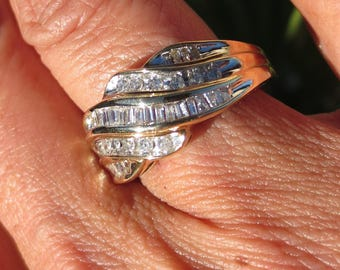Diamond 10K Yellow Gold Band Ring Vintage Estate Fine Jewelry NOS Wedding April Birthstone Genuine Gemstone