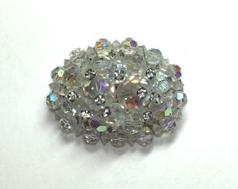 Vintage Brooch or Pin with Aurora Borealis Crystals and Rhinestones