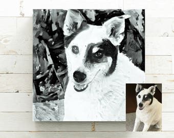 Black and White Custom Pet Portrait - Pet Portrait from Photo - Canvas Art Print - Pet Memorial Gift - Gift for Dog Lover - Pet Loss Gift