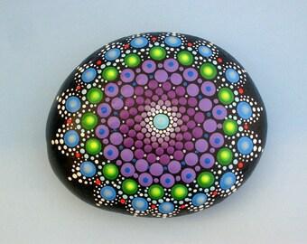 Mandala stones-Bohemian dot art-summer gift ideas-yoga art-ooak 3D neon polka dot art-blue purple amethyst green-dotillism pointillism-Zen