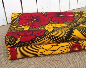 African wax print fabric BY THE YARD 100% cotton Yellow African print, Flower African wax print, African print, African wax, By the yard