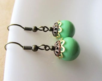 Apple Green Bead Czech Glass Drop Earrings