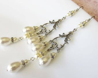 Long Pearl Vintage Style Bridal Wedding Earrings | Bridal Party or Bridesmaid Jewellery | Rococo Renaissance Theme Wedding Earrings