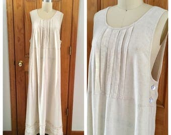vintage linen Farmhouse Chore dress / ecru linen pleated market dress