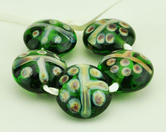 Handmade Lampwork Lentil Bead Set Sage Green with Purples Browns and Blues Tribal Design SRA by HallockGlass