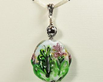 Handmade Lampwork Glass Bead Pendant Light Purple Iris Flower Garden Sterling Silver Jewelry SRA by HallockGlass