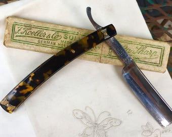 Antique Sta-Sharp Sraight Razor F. Koeller & Co. Faux Tortoise