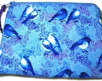 Padded Zipper Pouch Cosmetic Bag in Bluebird Flourish Print