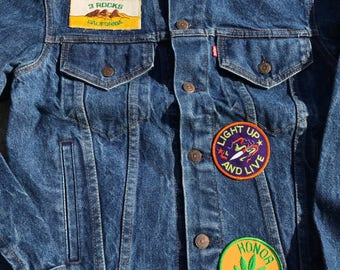 The Vintage Made in USA Dark Wash Socal California Patched Pride Levis Jacket