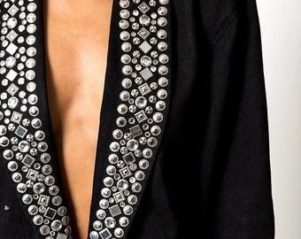 40% OFF The Vintage Black Studded Rocker Black Jean Denim Jacket
