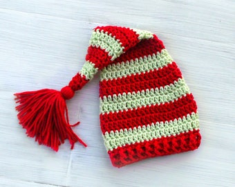 Christmas Baby Elf Hat, Red and Green Striped Baby Christmas Hat, Crochet Elf Hat, Crochet Christmas Stocking Baby Hat