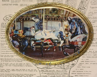 Hand Painted, Horses, Carousel, Antique, Blue, Gold, White, 5 x 7, Oval, Original, Mixed Media, Miniature, Affordable, Art