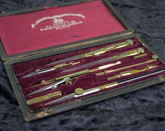 Antique Compas Superieurs Technical Drawing Set