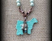 "Kiln Fired Pottery Pendant, Cattle Jewelry, Show Steer, Show Heifer, Livestock Bead/Chain  Necklace, Approx 29"" (end to end)"