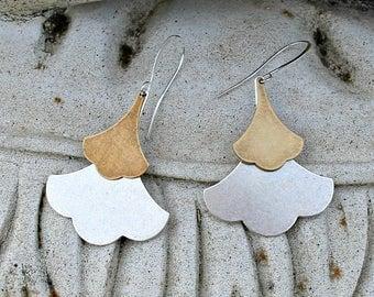 Bohemian Earrings, Leaf, Dangle, Silver, Brass, Bohemian Wedding, Rustic, Modern