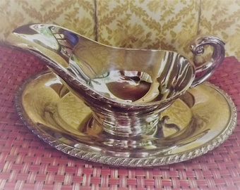 Beautiful Vintage Haddon Silver Plate Gravy Boat and Tray