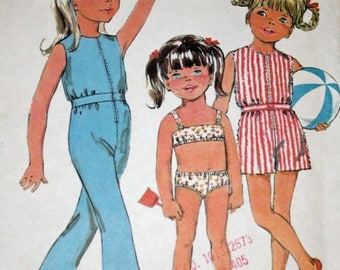 Vintage, 1960s, Sewing Pattern, McCall's 9722, Child's, Bathing Suit and Jumpsuit in Two Lengths, Child's Size 3, Girl's Size 3, UNCUT, FF