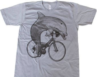 SUMMER SALE Dolphin on a Bike- Mens T Shirt, Unisex Tee, Cotton Tee, Handmade graphic tee, Bicycle shirt, Bike Tee, sizes xs-xxl