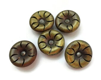 Antique Gold Metal Buttons - 5 Mirror Back Scant 5/8 inch 14mm for Jewelry Supplies Beads Sewing Knitting