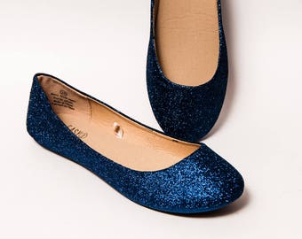 Glitter - Navy Blue Ballet Flat Slipper Shoes