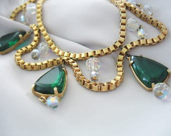 Festoon Statement Necklace, Emerald Green, Gold Book Chain, AB Crystal Beads, Bib, Statement Necklace, 1950s