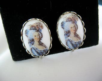Cameo Earrings Lady Feathered Hat Blue White 1970s Milk Glass Silver Tone Leverback Clipons