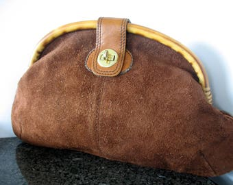 Suede Clutch, Bamboo Handle, Turnkey Latch, Brown, Leather, Large, Oversized, 1970s, Zippered Inner Pouch