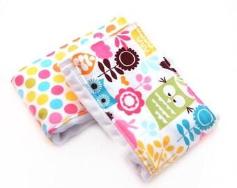 SALE Girl Burp Cloths, Dots Owls Burp Cloth  // Diaper Burp Cloths // Cotton Burp Cloth // Baby Shower Gift // Pink Burp Cloth // Newborn Gi