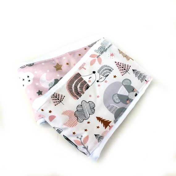 Girl Animal Burp Cloths - Woodland Burp Cloths - Pink Gray Gold Diaper Burp Cloth // Baby Shower Gift // Pink Burp Cloth