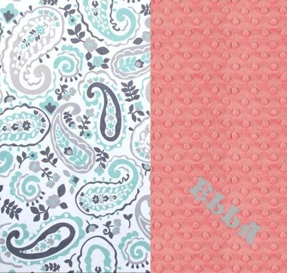 Personalized Baby Blanket / 42 x 55 Minky Blanket Girl, Paisley Blanket / Crib Blanket // Mint Coral Baby Blanket / Baby Shower