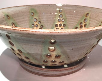 Berry Bowl - Ceramic Colander Collander -  Ceramic Berry Bowl - Strainer - Bowl  in Toasted Cream with green and yellow In Stock