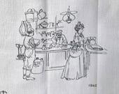 Vintage Tea Towel Stockmann Department Stores Finland Textile 100 Year Anniversary Centennial Celebration