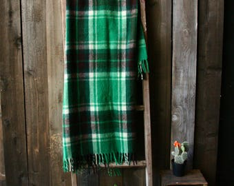 Vintage Wool Blanket Green Plaid Camping Cabin Picnic Wool of The West From Nowvintage on Etsy