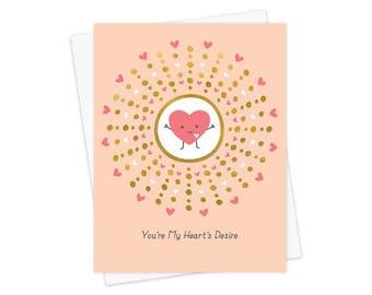 Heart's Desire - Love Card - Anniversary Card - Valentine's Day Card - Gold Foil Love Card - Valentine - OC1556