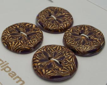 Four Round Buttons Brown and Amber Handmade Polymer Clay 22mm