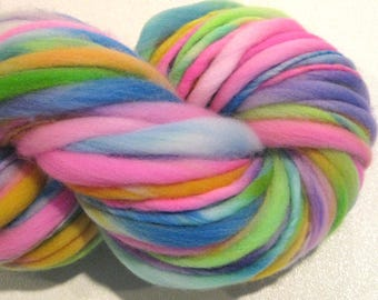 Bulky Handspun Yarn Doe Eyed 80 yards pastel rainbow yarn pink hand dyed merino yarn waldorf doll hair knitting supplies crochet supplies