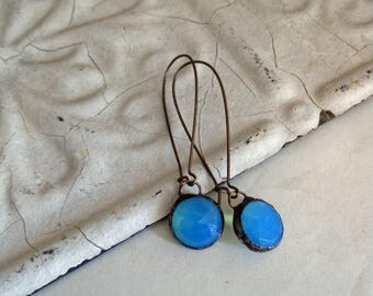 Glass Earrings Long Arched Earwires Faceted Stained Glass Jewelry Aqua