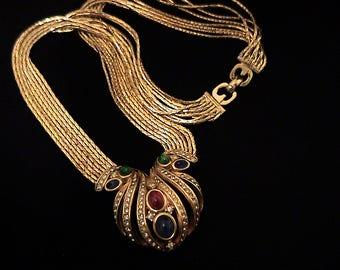 Vintage Henkel & Grosse Jeweled Cabochon Multi Strand Necklace