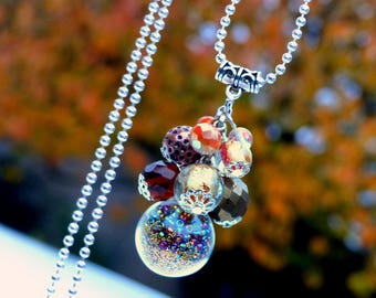 Precious Gipsy . Sautoir unique Bubbles grappe perles mordoré globe verre cristal bohème design original Tikaille