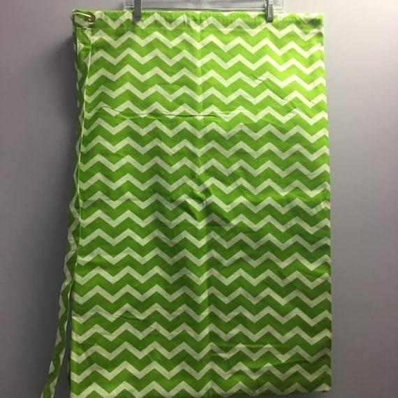 Personalized Lime Green Chevron Print Laundry Bag