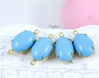 German Vintage Glass Oval Set Stones 14x10mm Charms Drops Connectors Brass Settings Turquoise Blue - 4
